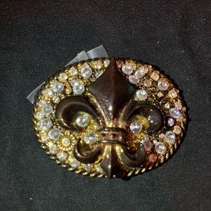 Other - Fleur-de-lis Saints Belt Buckle Iced